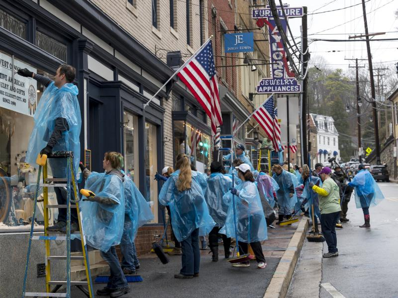 volunteers clean up ellicott city